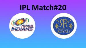 IPL Match 20 - Mumbai vs Rajasthan - Abu Dhabi - 06 October - Today
