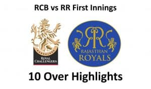 RCB vs RR First Innings 10 over highlights