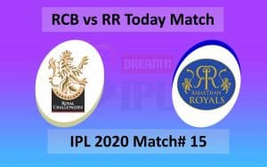 RCB vs RR Today Match 15 - Abu Dhabi - 03 October